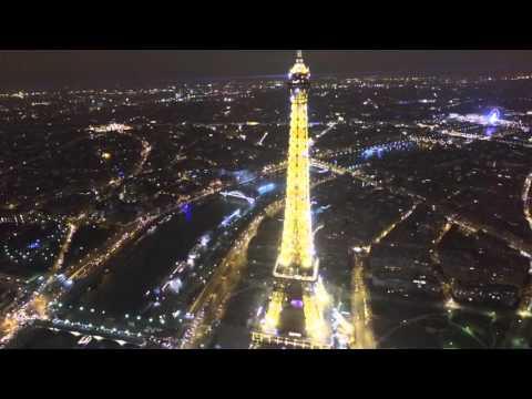 Paris Eiffel Tower in 4k, Night Paris with the DJi Phantom 4 Drone, Paris night Flight from the sky