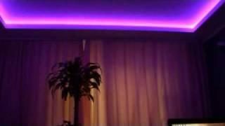 Светодиодная подсветка потолка RGB Светодиодная лента(http://www.planeta-sveta.ru Для подсветки потолка используется гибкая светодиодная лента rgb smd 5050 30 led на самоклеющейся..., 2009-04-18T15:10:17.000Z)
