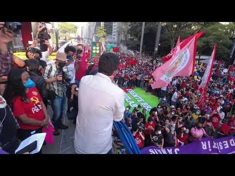 Guilherme Boulos, do MTST, neste #24JForaBolsonaro, na Paulista