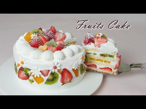 Beautiful cake / 과일 생크림 케이크만들기 / How to make Fruits Cake /フルーツ生クリームのケーキ / फ्रूट क्रीम केक