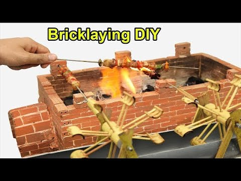 Bricklaying Model, How to make automatic BBQ oven with mini bricks Part 2