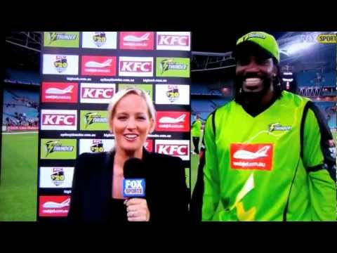 Chris Gayle working his magic with the Fox Sports ladies