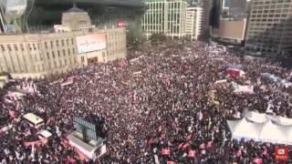 2017년 2월 18일 탄기국 집회 공중촬영 영상 (남대문에서 시청광화문방향까지)