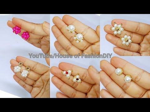 4DIY Earrings || How To Make Ear studs Using Pearls//Pearl earrings At Home