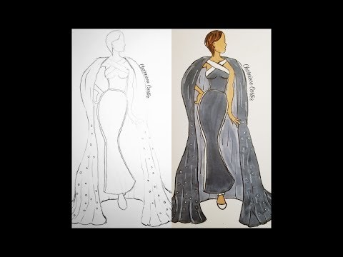 Fashion Sketch and Color Illustration Design Tutorial-Grey Ball Gown