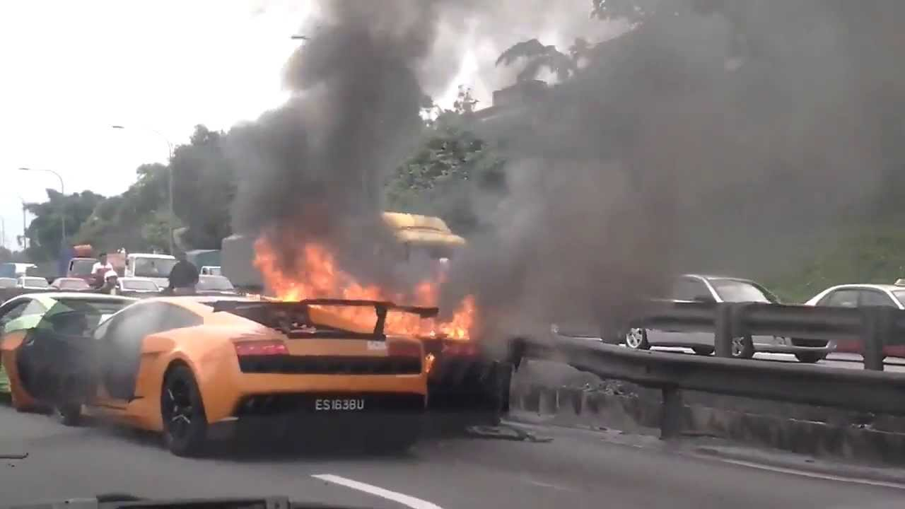 Lamborghini Accident 3 Lamborghini On Fire In Kl Youtube