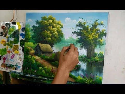 Dạy vẽ tranh phong cảnh đồng quê, (xem video vẽ chậm phần mô tả).