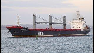 Big Bulk carrier ships floating on the sea