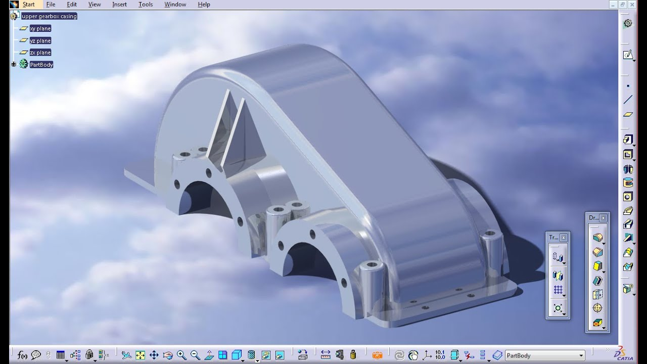Upper gearbox casing  Part Design  CATIA V5  YouTube