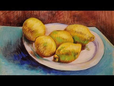 Van Gogh Lemons on a Plate Acrylic Painting Full Length Tutorial