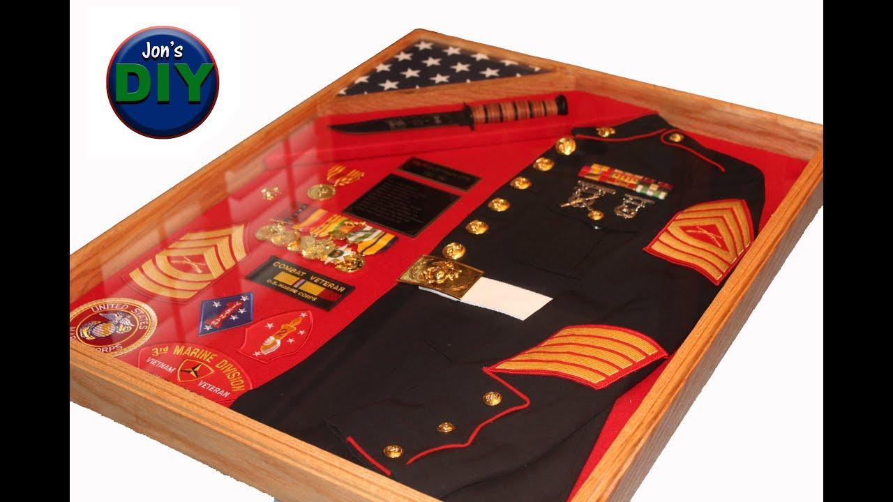 diy marine shadow box with jacket  u0026 knife