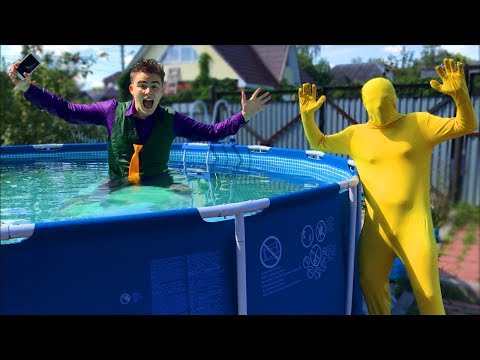 Diver Mr. Joe found iPhone at Bottom of POOL w/ Yellow Man lost his Phone in Water for Kids