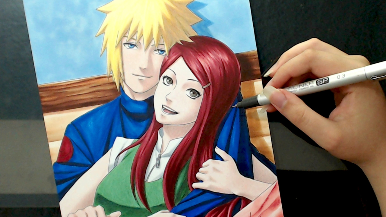 speed drawing minato and kushina naruto valentine s week youtube