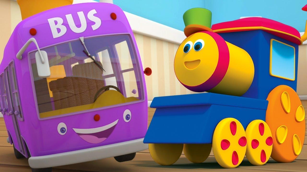 bob le train roues dans le bus bus chanson pour enfants comptines bob wheels on the bus. Black Bedroom Furniture Sets. Home Design Ideas