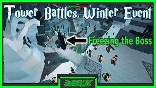 Roblox Tower Battles Winter Event| Winter Event Glitch Freezing The Winter Boss! W/ Ryan & Biscuit!