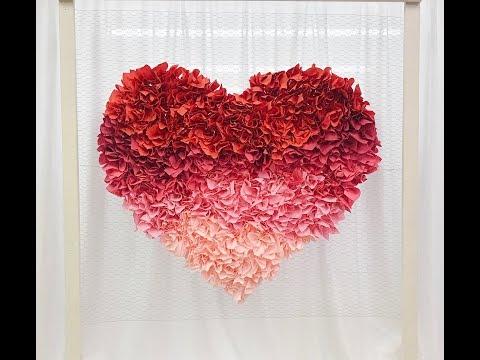 Ombré paper napkin Heart backdrop, photo backdrop DIY