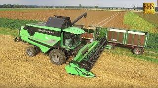Neuer Mähdrescher Deutz Fahr C7206 TS /Weizenernte Fendt New Combine Harvester harvests German wheat