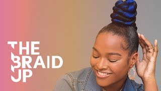 Twisted Blue Top Knot | The Braid Up | Cosmopolitan