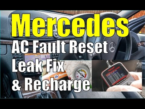 Mercedes AC Aircon Fault Reset, Leak Fix & Re-charge.  W211 E-Class