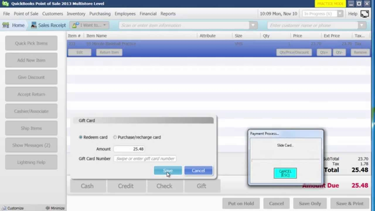 How to sell a gift card, redeem a gift card in QuickBooks POS