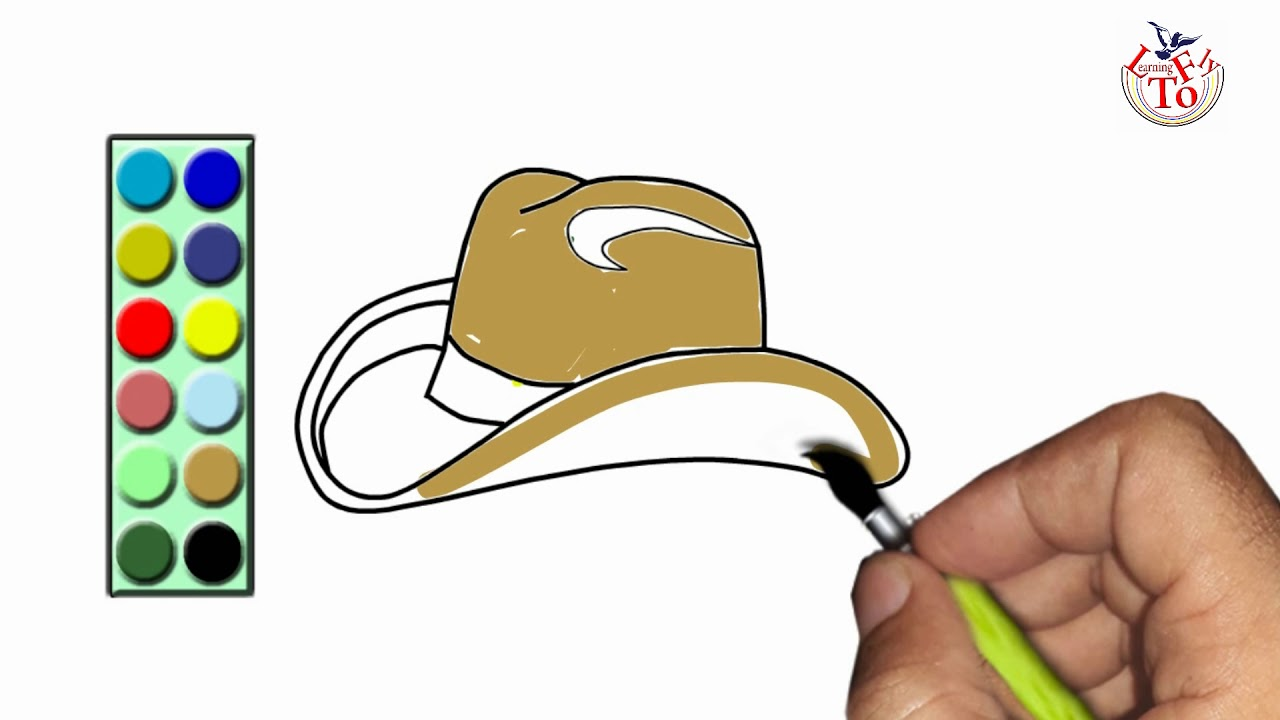 How To Draw Cowboy Hat And Color It Coloring Page For Children Youtube
