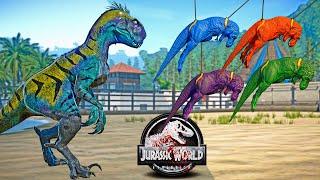 SCORPIUS REX GEN 3 vs Colorful T-REX Team Dinosaurs Fight 🌍 JURASSIC WORLD EVOLUTION