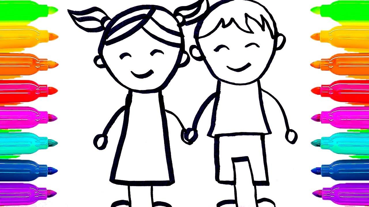 Dibujos Para Aprender A Colorear: Aprende A Dibujar Niños Con Rotuladores