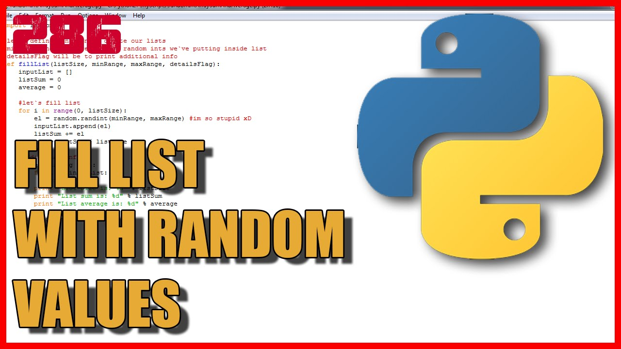 PYTHON Lists - Fill list with random values - YouTube
