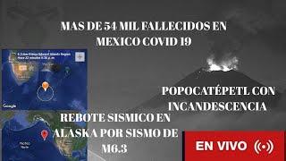 Reporte Sísmico, volcánico, pandémico: Popocatépetl - M6.3 Antípoda cumplida Alaska M5.5 🔥 🔴