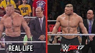 The Comparison Of WWE 2K17 vs Real Life Entrances! ( Cena, Rollins, Reigns , Balor & Lesnar )