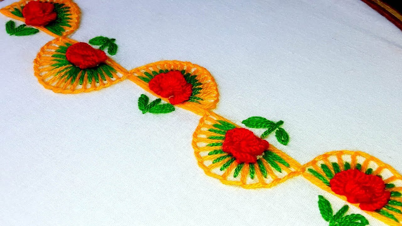 Hand Embroidery Border Design For Saree Youtube