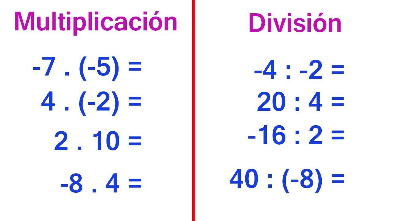 Cómo Multiplicar Y Dividir Números Enteros Con La Regla De Los Signos Youtube