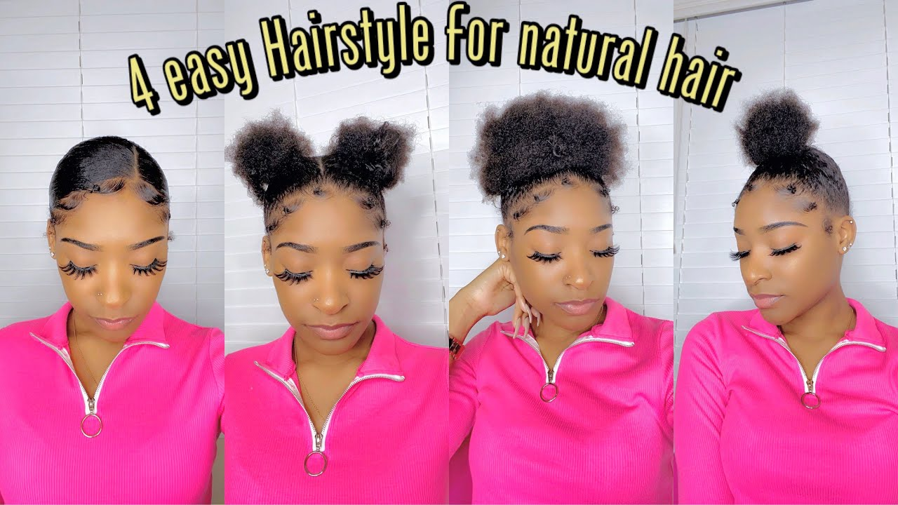 4 Simple Cute Hairstyle For Short Natural Hair Youtube