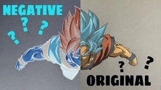 Negative Art Challenge - Drawing Goku | Inverted Artwork |
