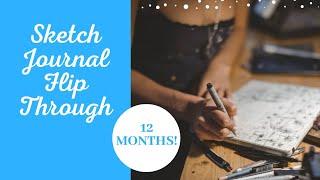 12 Month Sketch Journal Flip Through (Better than a Bullet Journal!)