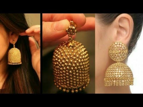 Latest/New Gold Jhumka Designs With Stone and Pearl Jewellery| Beautiful you