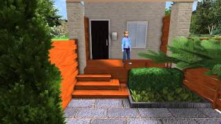 3d Contemporary Front Yard Landscape Makeover - Walkthrough Movie