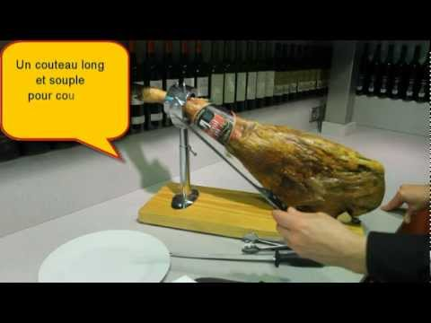 Comment couper un jambon espagnol en tranches 1 6 pata negra bellota ou serrano youtube - Comment couper un jambon iberique ...