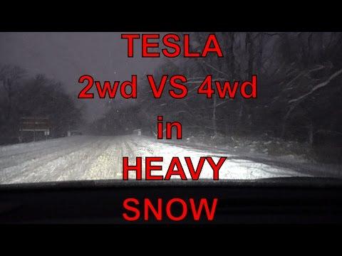 Tesla Motors: 2wd vs 4wd in Snow/Poor Weather Ride-Along