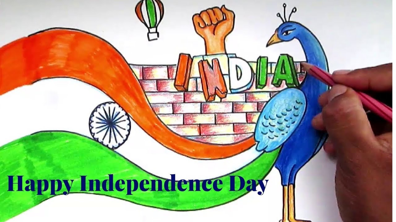 Creative drawing happy independence day for kids youtube for How to make creative drawings