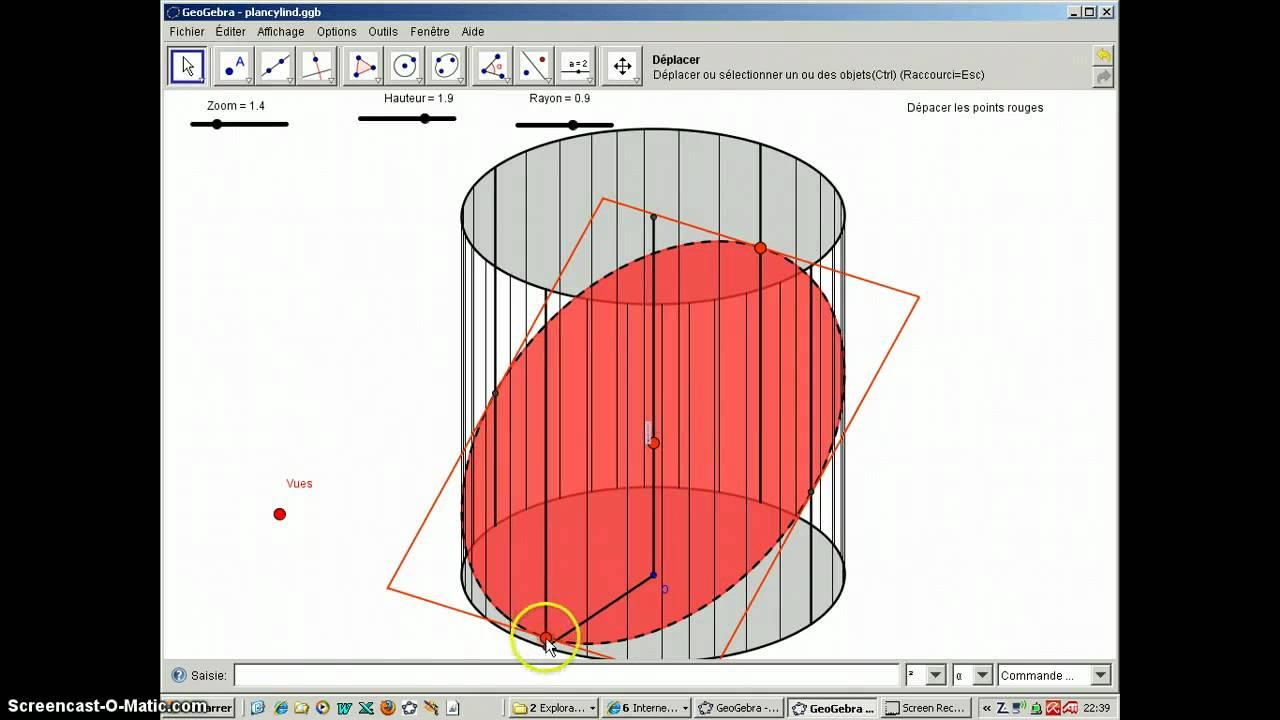 geogebra 3d plan and cylinder youtube. Black Bedroom Furniture Sets. Home Design Ideas