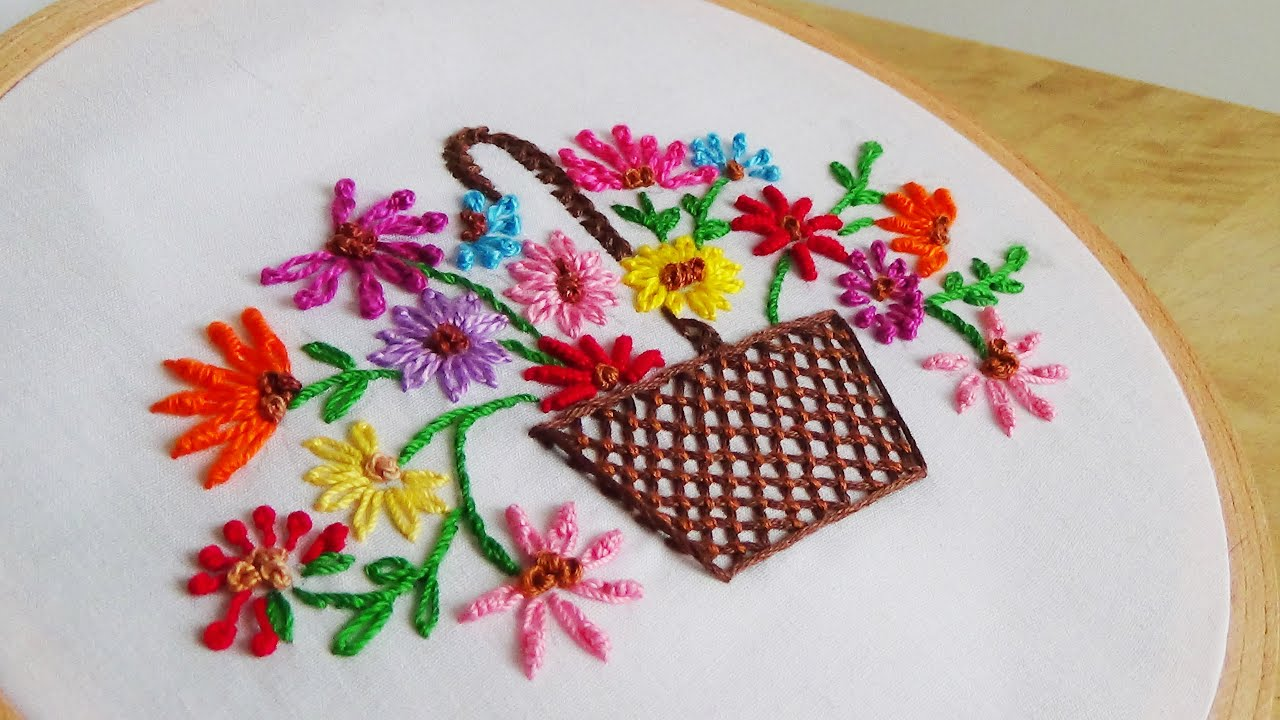 Hand embroidery flowers basket youtube