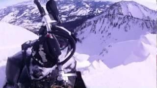 2012 ski doo summit X close call with cliff fall