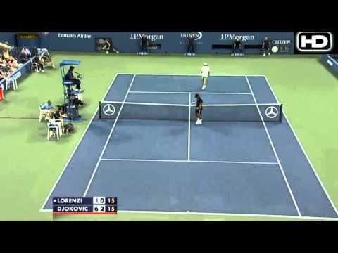 Djokovic vs Lorenzi - Us Open 2012 Highlights Set 2 [HD]