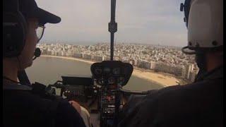 El combate al coronavirus desde el aire: así es un día de patrullaje en helicóptero sobre Montevideo