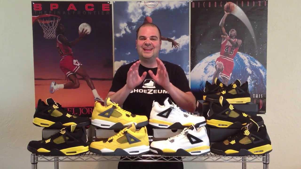 29907101cd2699 ShoeZeum Thunder and Lightning Air Jordan 4s - YouTube