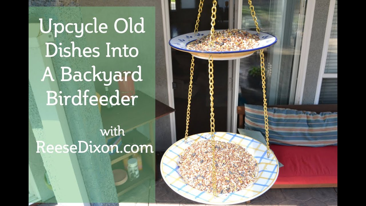 upcycle old dishes into a backyard bird feeder youtube