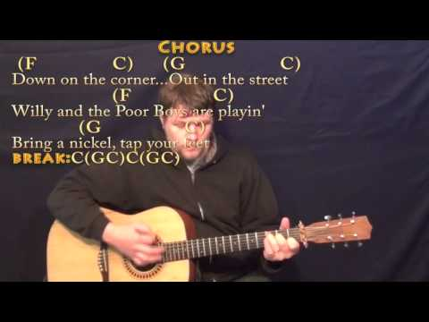 Down on the Corner (CCR) Strum Guitar Cover Lesson with Chords/Lyrics