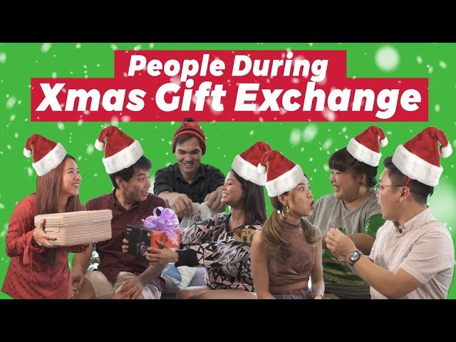 People During Christmas Gift Exchange
