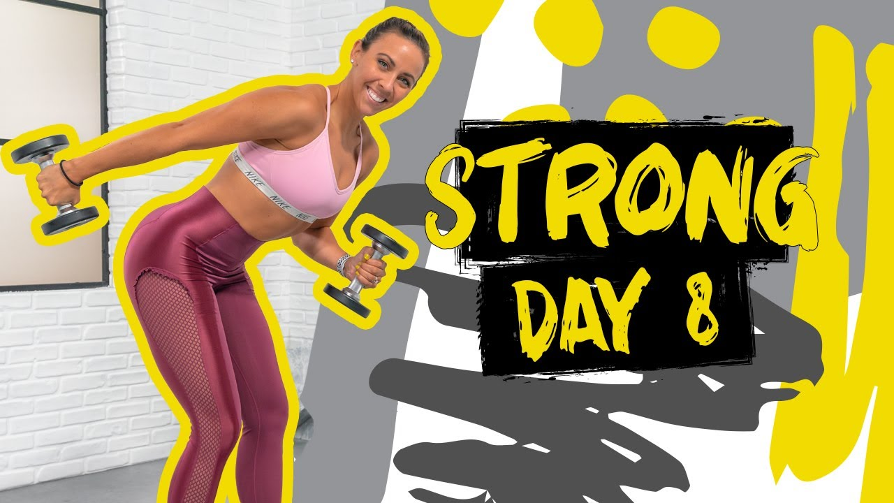 50 Minute Arms & Abs Push Workout   STRONG - Day 8